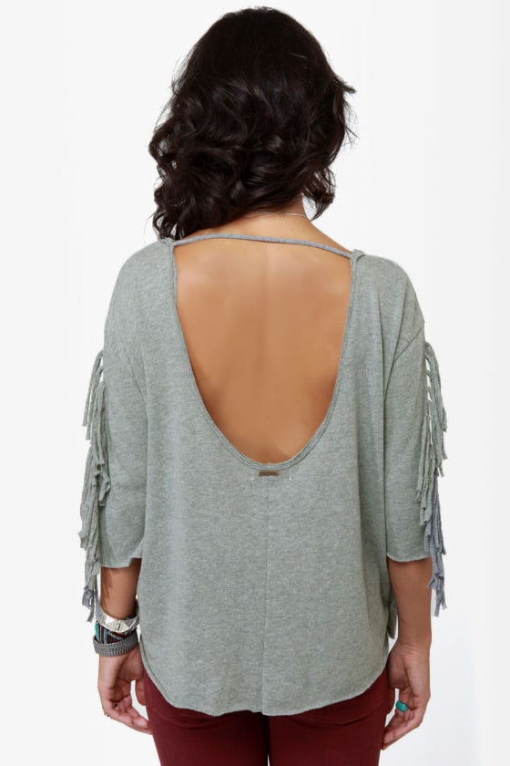 Billabong At Last Grey Fringe Top