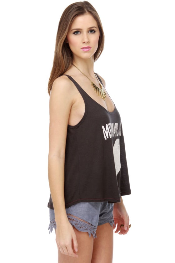 Billabong Doubt It Charcoal Grey Tank Top