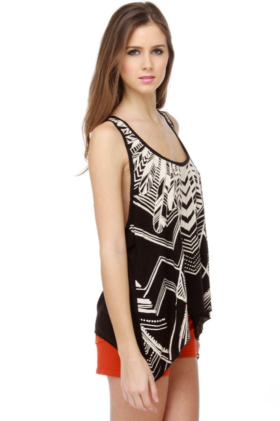 Billabong Oracle Fox What a Stud Print Black Tank Top
