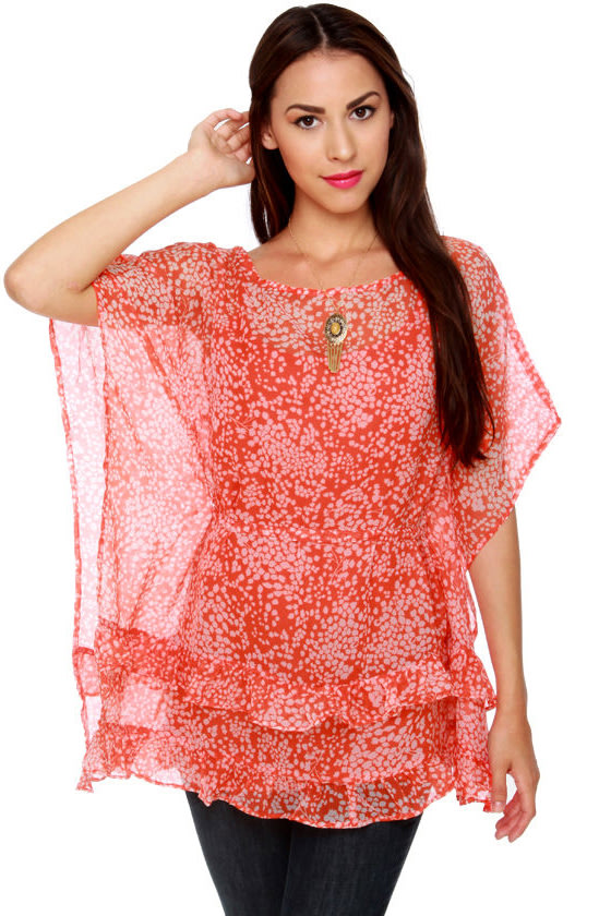 Billabong Panorama Poppy Orange Print Tunic Top