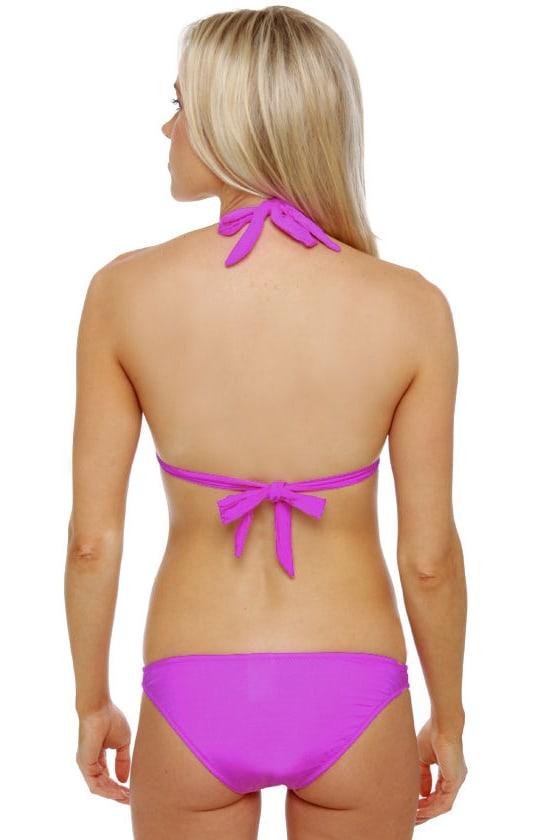 Making Waves Purple Halter Bikini at Lulus.com!
