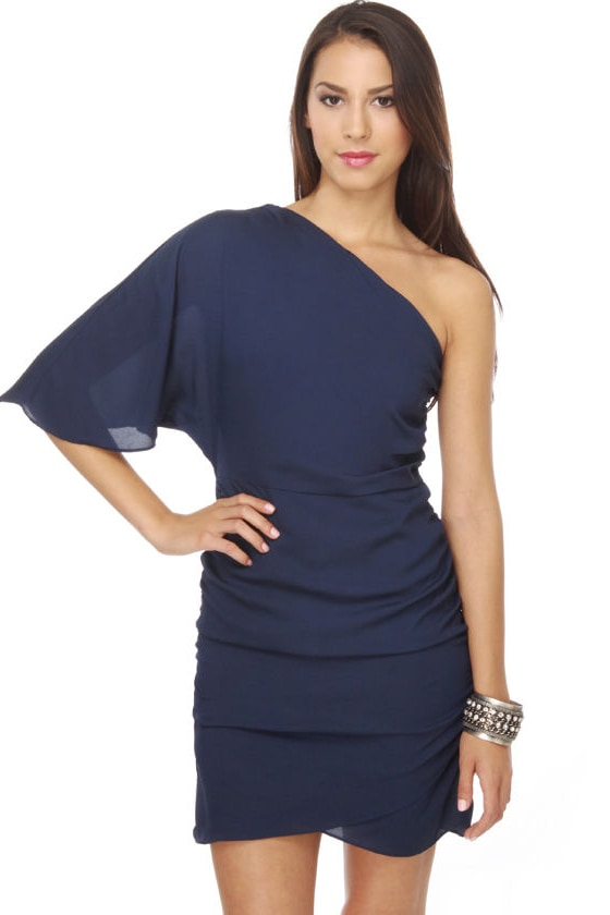 Amor Azul One Shoulder Navy Blue Dress