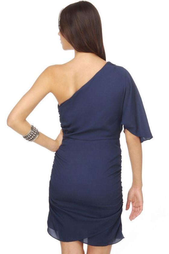 Amor Azul One Shoulder Navy Blue Dress
