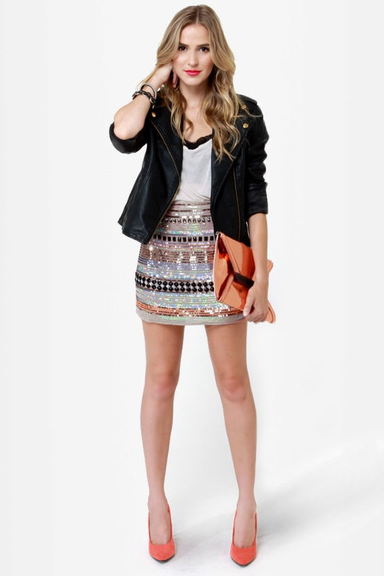 Undersea Casino Taupe Sequin Skirt