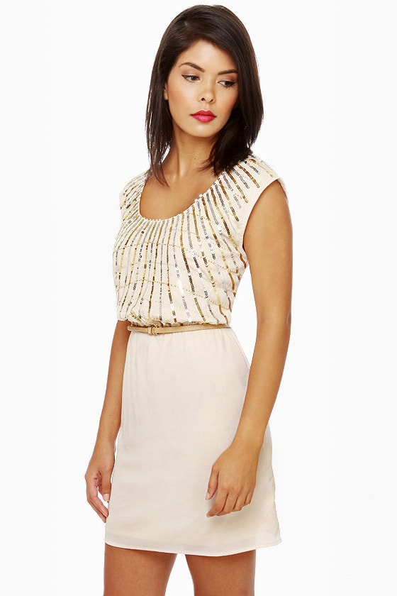 On Reflection Cream Sequin Dress