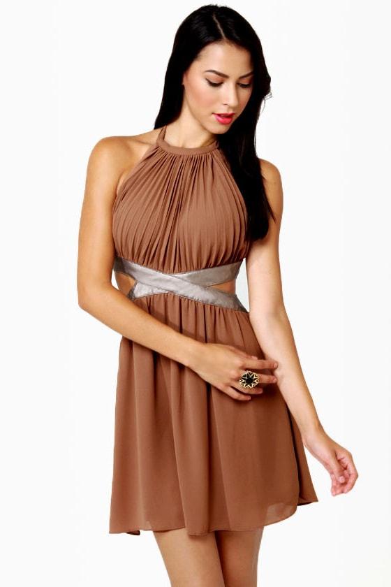 Sexy Halter Dress - Brown Dress - Backless Dress - $66.00