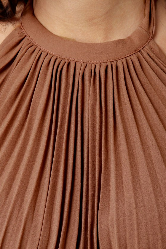 Cast in Bronze Brown Halter Dress at Lulus.com!