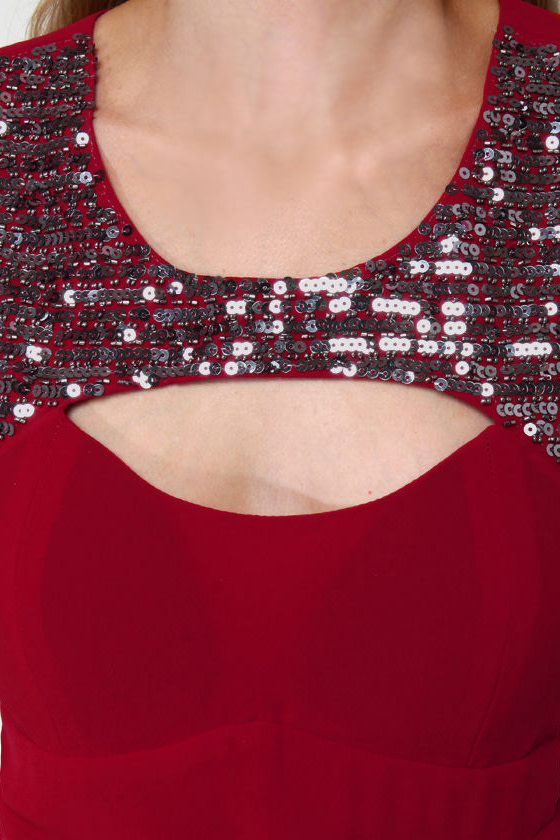Fashionably Elated Red Sequin Dress