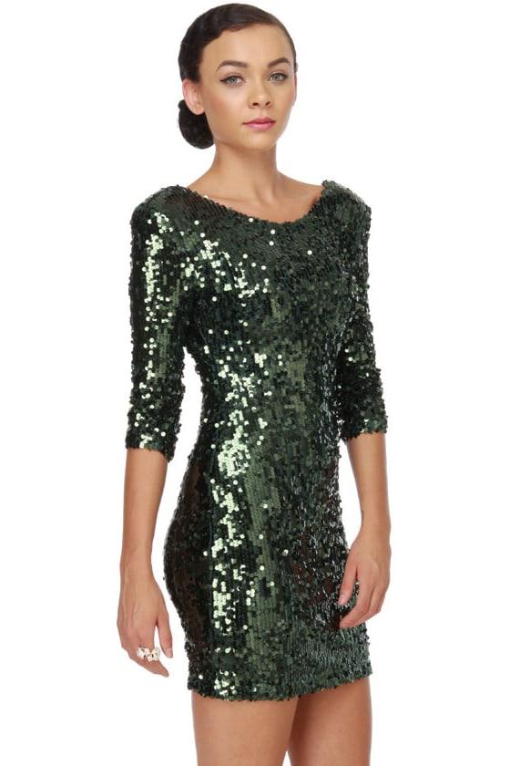 Blaque Label Supernova Green Sequin Dress