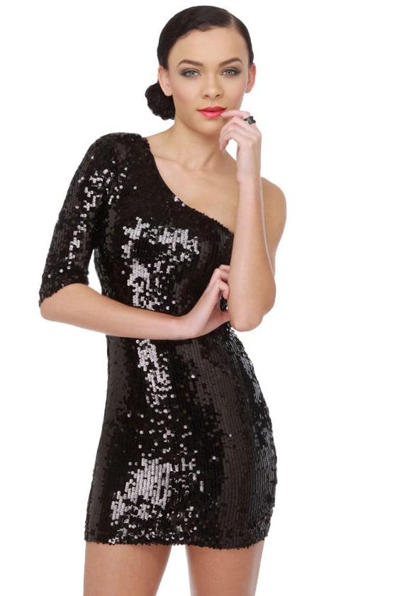 Black Sequin Dress - One Shoulder Dress - Little Black Dress - $89.00