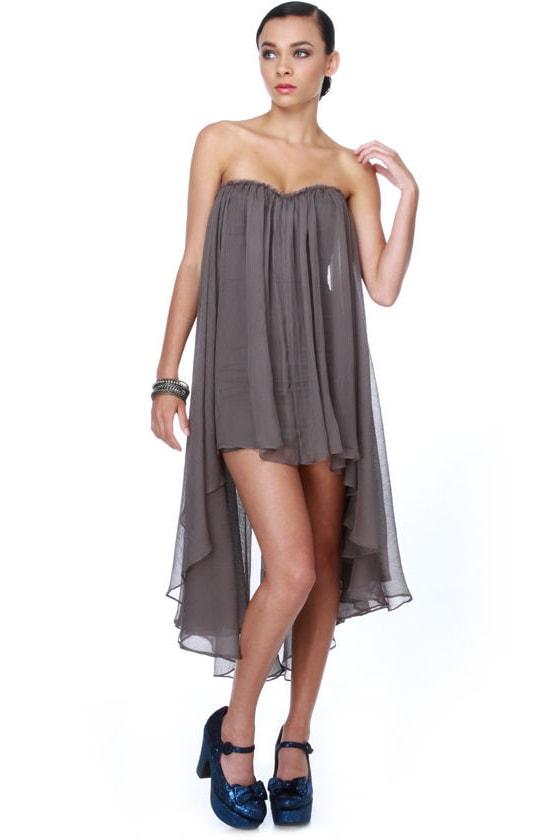 Blaque Label Aeriform Strapless Grey Dress