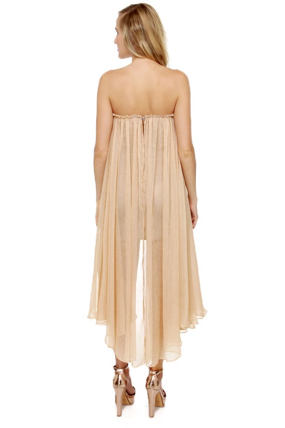 Blaque Label Aeriform Strapless Beige Dress