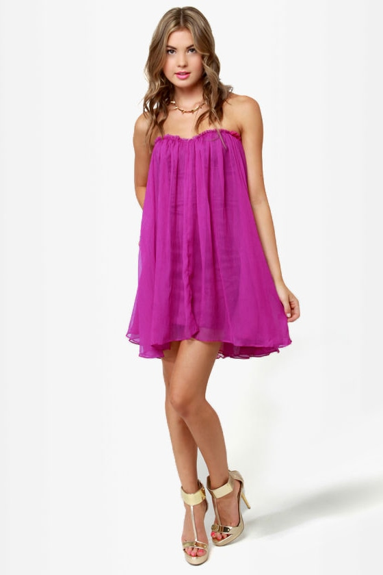 Blaque Label Anthology Strapless Magenta Dress