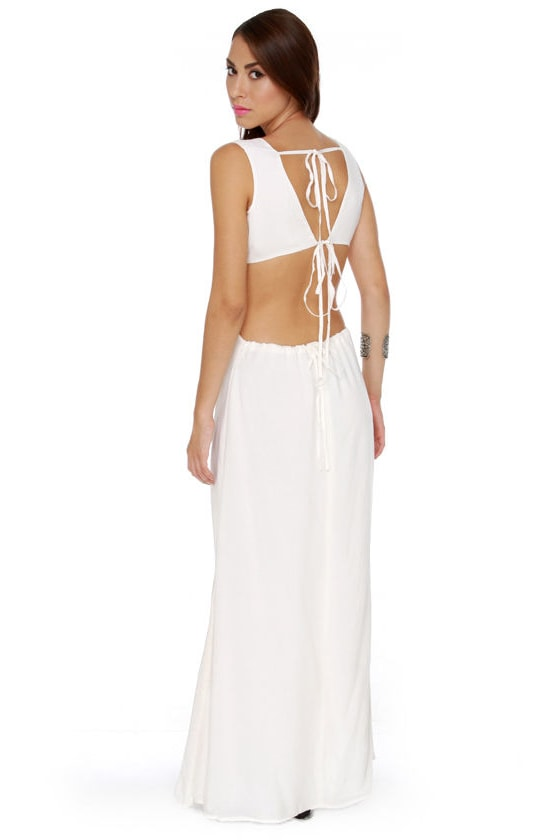 Blaque Label More or Backless Ivory Maxi Dress