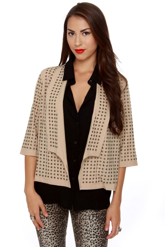 Blaque Label Studfest Studded Beige Jacket