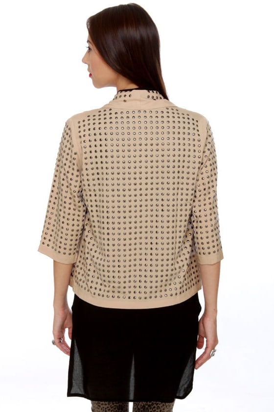 Blaque Label Studfest Studded Beige Jacket at Lulus.com!