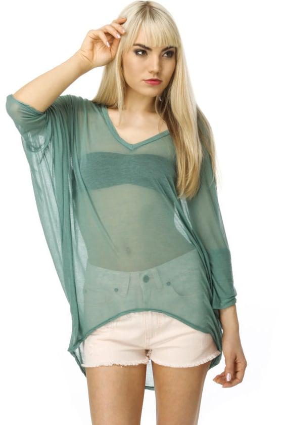 Brandy Melville Anita Sheer Light Green Top