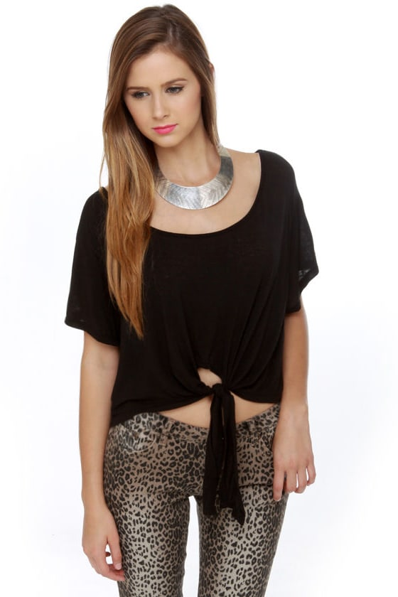39e9af73a172 Brandy Melville Rae Top - Black Top - Oversized Top - Crop Top -  36.00