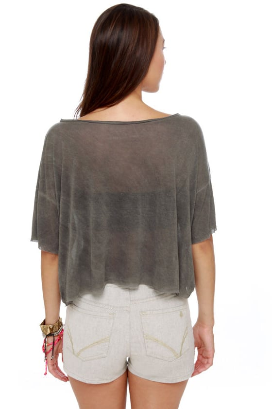 Brandy Melville John Galt Statue of Liberty Grey Crop Top