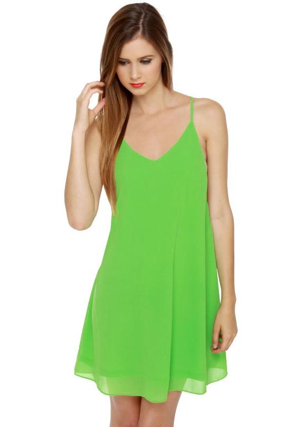 Tank It Easy Lime Green Dress