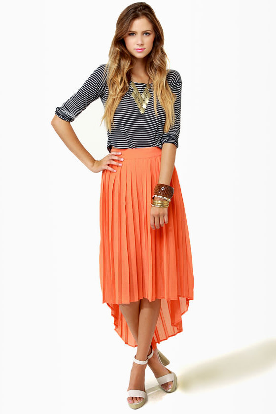 Pretty Pleated Skirt - Orange Skirt - High-Low Skirt - Midi Skirt ...