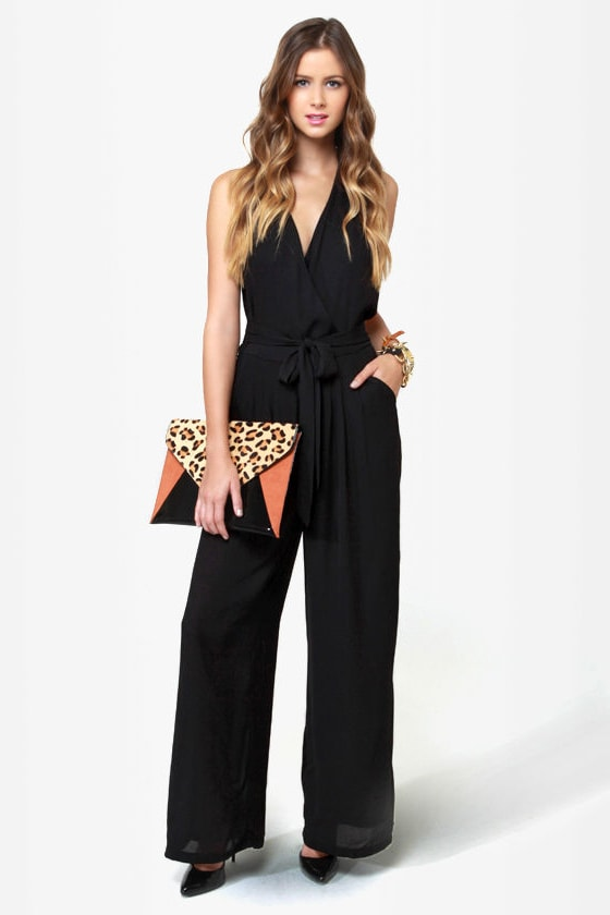Along for the Stride Backless Black Jumpsuit
