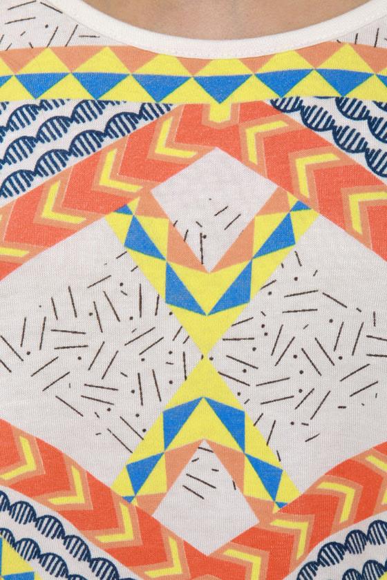 WkShp Temple Ivory Print Crop Top