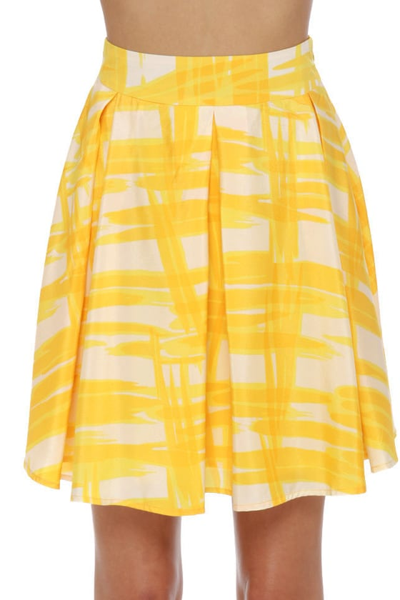 Collective Concepts Solarium Yellow Print Skirt