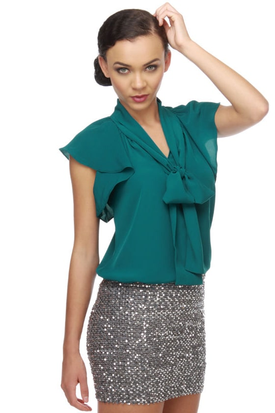 Collective Concepts Golden Globe Teal Top