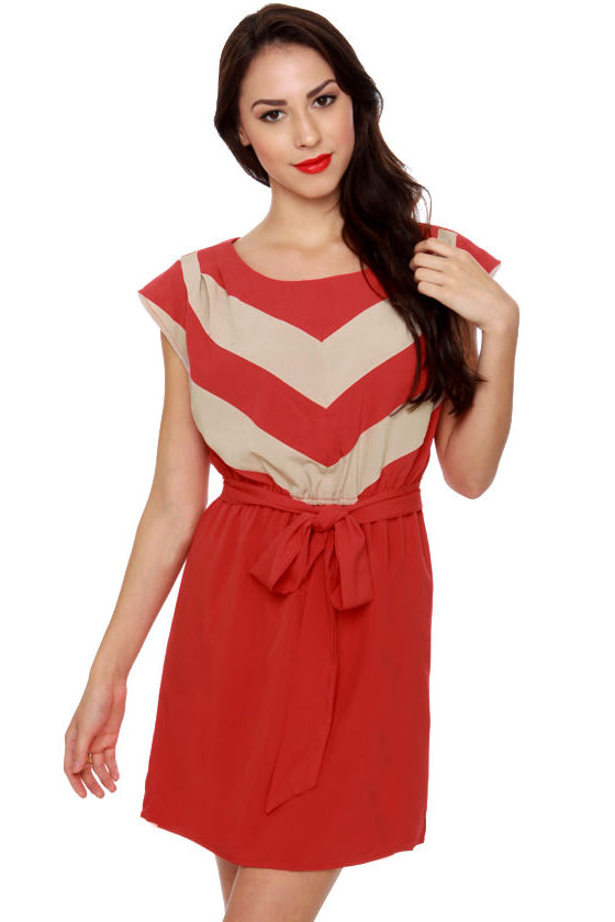 Passing the Test Striped Red Dress