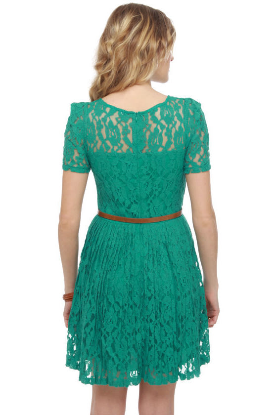 Floral Engagement Teal Lace Dress at Lulus.com!