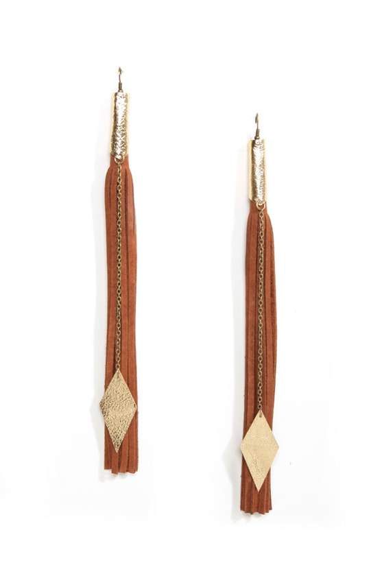 Claire Fong Under My Spell Brown Fringe Earrings at Lulus.com!