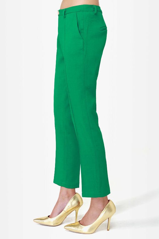 Cute Green Pants - Cropped Pants - $42.00
