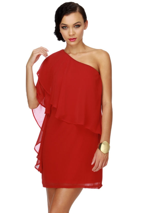a03c47210aa5 Pretty Red Dress - One Shoulder Dress - Ruffle Dress - $40.00
