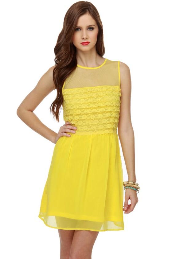 Tiers of Joy Yellow Lace Dress