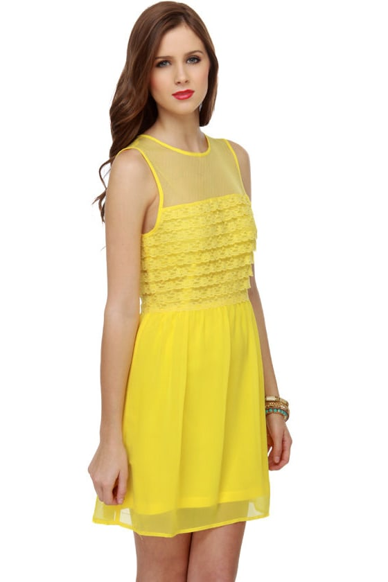Tiers of Joy Yellow Lace Dress