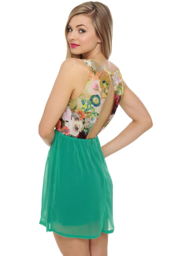 State of the Art Teal Print Dress