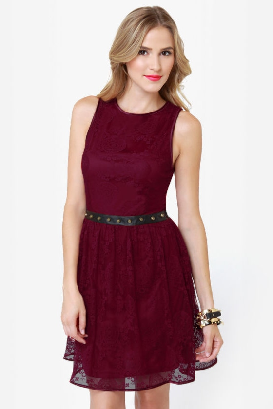 Cute Lace Dress Burgundy Dress Studded Dress Skater
