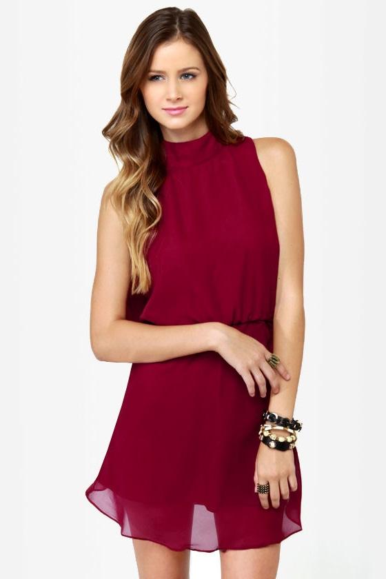 Drape Escape Backless Wine Red Dress