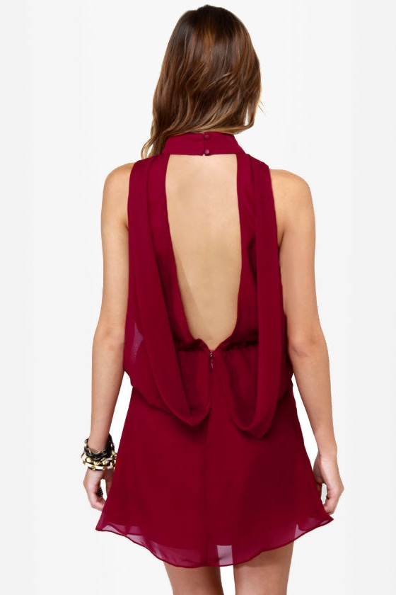 Drape Escape Backless Wine Red Dress