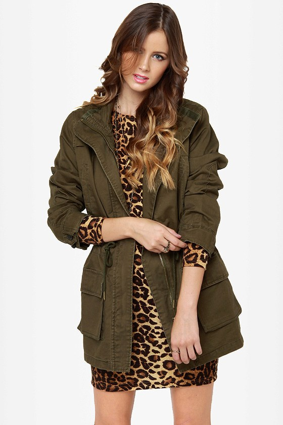 Casual Army Green Jacket - Army Green Coat - Military Jacket$83.00