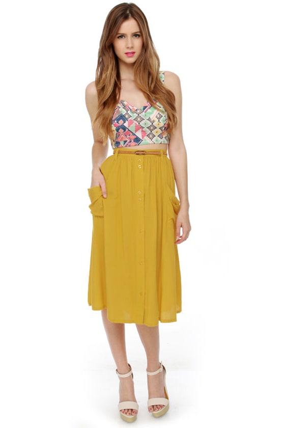 Honeybee Hangout Yellow Midi Skirt