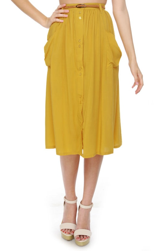Honeybee Hangout Yellow Midi Skirt