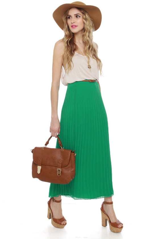 ad50566a7d49 Cute Green Skirt - Maxi Skirt - Pleated Skirt -  39.00