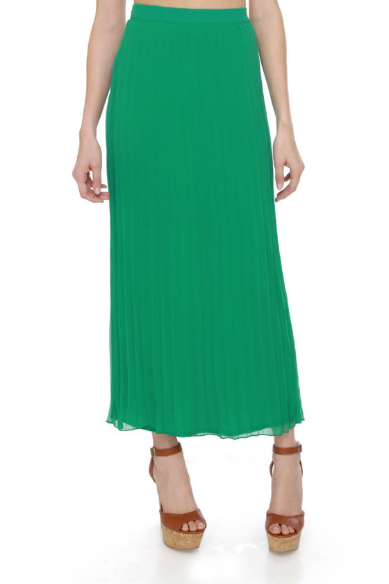 green skirt maxi skirt pleated skirt 39 00