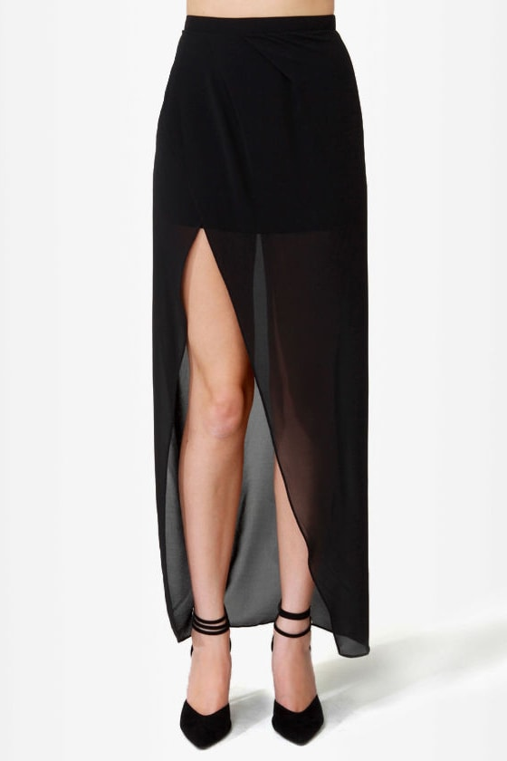See You Staring High-Low Black Skirt at Lulus.com!