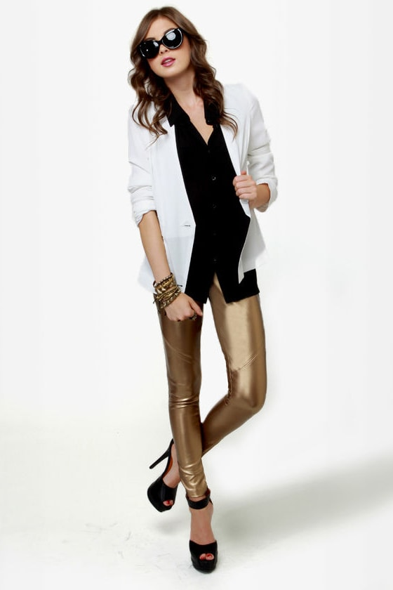 Leader of the Pack Gold Vegan Leather Leggings at Lulus.com!