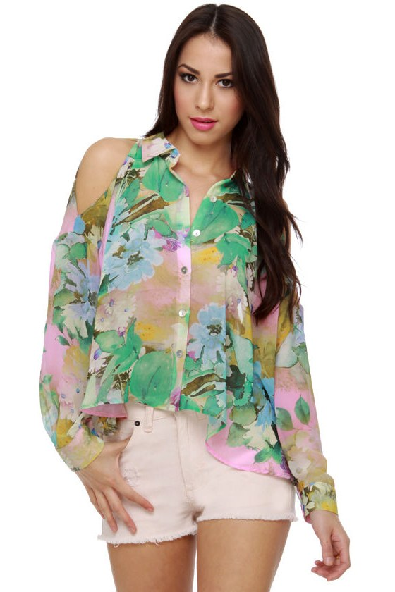 Berkeley Babe Sheer Floral Print Top