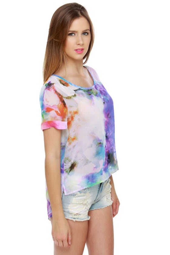Fleur For Sure Sheer Floral Print Top at Lulus.com!
