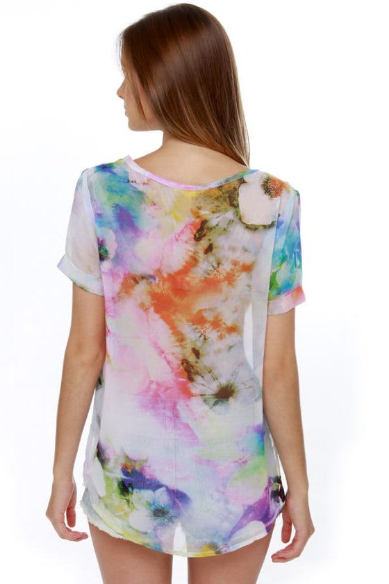 Fleur For Sure Sheer Floral Print Top